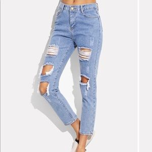 Denim ripped mom jeans